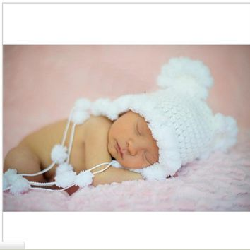 Newborn mohair ear bear bonnet white color 0-3 month newborn hat baby handmade knit soft mohair bonnet newborn photography props