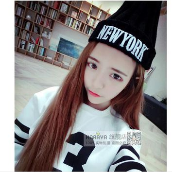 Winter hat women 2015 Gorros hombre feminino new York knitted warm beanie hat wool caps hats for man hip hop Skullies & Beanies