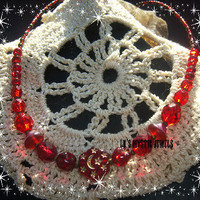 CLEARANCE Customer Appreciation Days Star Moon Necklace Red Glass Beaded Chakra Jewelry Direct Checkout