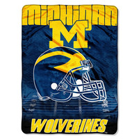 Michigan Wolverines NCAA Micro Raschel Blanket (Overtime Series) (80x60)