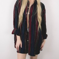 Vintage Navy Maroon Striped Button Up Shirt