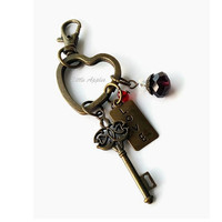 LOVE metal tag, big key charm, heart key ring, beaded purse charm, burgundy brass, bag accessories, gift for her, girlfriend gift