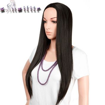 "S-noilite 100% Real Thick 300g Ladies 25"" Long Straight Half Wig Heat Resistant Dark Brown Blonde 3/4 Full Head Wigs Synthetic"