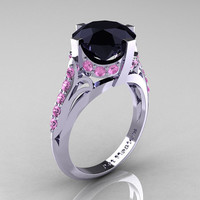 French Vintage 14K White Gold 3.0 CT Black Diamond Light Pink Sapphire Bridal Solitaire Ring Y306-14KWGLPSBD