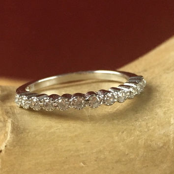 White Sapphire Floral Half Eternity Sterling Silver Wedding Band Ring JR 001