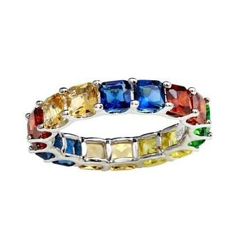 Trending Rainbow-Stone CZ Asscher Cut Eternity Ring