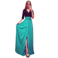 Summer Dress Plus Size Clothing Maxi Dress Long New Summer Style Side Split Dresses Spliced Bandage Vestidos Dresses -0407