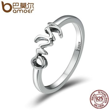 Trendy 925 Sterling Silver Only You Letter Engrave Finger Rings for Women Wedding Engagement Jewelry Anel SCR190