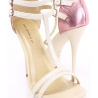 Beige Strappy T-Strap Heels Patent Faux Leather