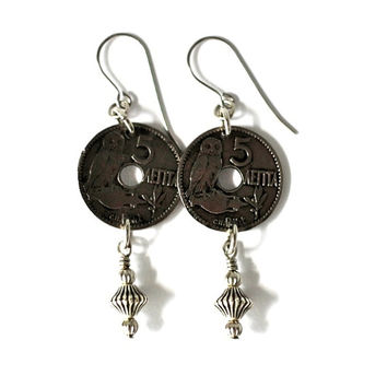 Owl Earrings, Greek Coins, 1912, Greece 10 Lepta, Eco-Friendly, Wire Wrapped Jewelry by HendywoodDangle