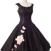 Authentic 1950s Black Lace Pink Rose Appliques Party Dress