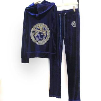 Versace New fashion diamond human head velvet hooded long sleeve coat and pants two piece suit women