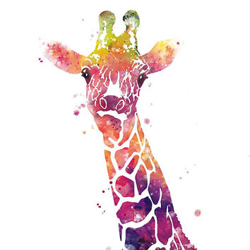 Giraffe Print Watercolor Wall Art Animal Print Printable Animal Nursery Decor illustration Home Decor Giraffe Painting Gift