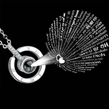 Love Memory Necklace 520 Necklace Clavicle Chain 100 Languages I Love You