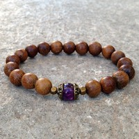 Healing, Genuine Amethyst Gemstone and Wood Mala Bracelet