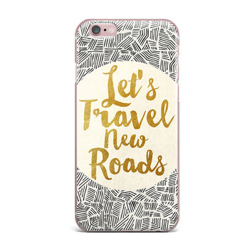 "Pom Graphic Design ""Let's Travel New Roads"" Gold Black iPhone Case"