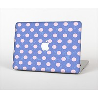 The Vintage Scratched Pink & Purple Polka Dots Skin Set for the Apple MacBook Air 11""