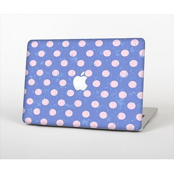 The Vintage Scratched Pink & Purple Polka Dots Skin Set for the Apple MacBook Pro 15""