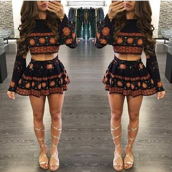 Casual Black Bohemian Floral Print Crop Pleated Cute Teens Boho Skater Mini Dress