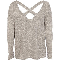 Beige open cross back long sleeve t-shirt - long sleeve t-shirts - t shirts / tanks / sweats - women