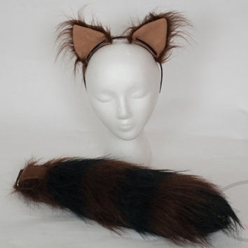 "SMALL Chocolate Raccoon Furry Ear and/or 16"" Tail with black tip Set Cosplay, Accessories, Costume - for Kids or Adults"