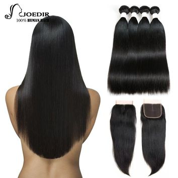 Human Hair Bundles With Closure 3 4 Bundles With Closure Brazilian Straight Non Remy Hair Weave Bundles With Lace Closure Joedir