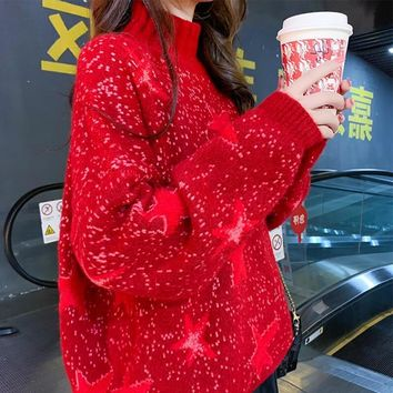 Christmas Mock Neck Pullover Sweater