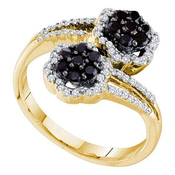 14kt Yellow Gold Women's Round Black Color Enhanced Diamond Flower Cluster Bypass Ring 1/2 Cttw - FREE Shipping (USA/CAN)