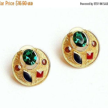 ON SALE Vintage 1980s Rhinestone Earrings. Emerald Green Gold Tone Earrings. Chunky Enamel Earrings. Red Amber Blue