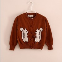 Vintage Inspired Girls Clothes Squirrels Brown Cardigan | Vindie Baby