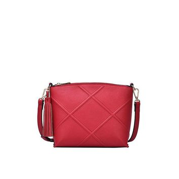 Red Vera Quilted Cross Body Bag