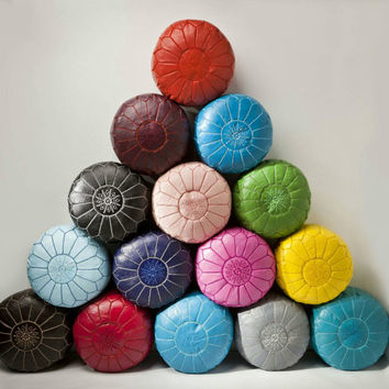 Set of 4 AMAZING HANDMADE LEATHER moroccan poufs, made by hand from genuine  leather,  gives your living-Room a beautiful moroccan style