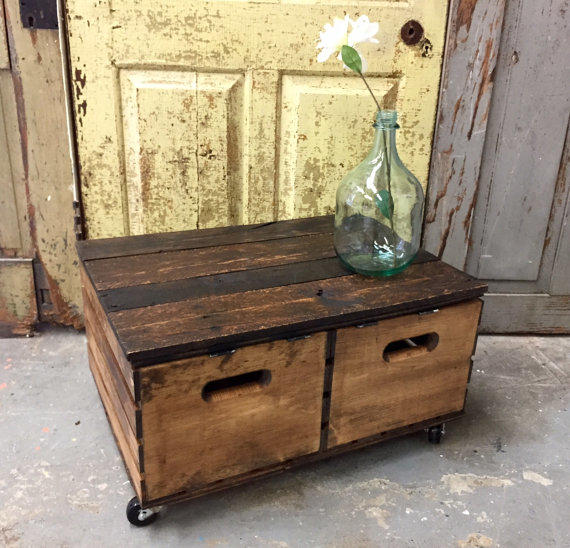 Crate coffee table side table with from vintagehipdecor for Wood cube coffee table set
