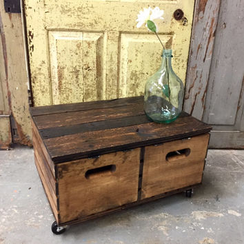 Crate Coffee Table Side With Storage Rustic Wood Furniture Wooden Cub