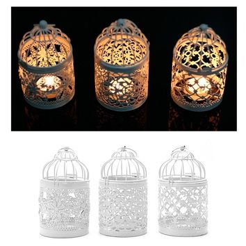Hollow Holder Tealight Candlestick Hanging Lantern Bird Cage Vintage Wrought New CYR