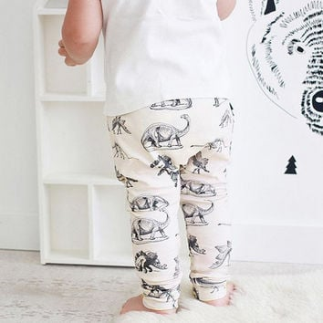 2017 Baby Leggings Autumn Dinosaur on Cream Organic Cotton Baby Leggings Pants Children Harem trousers Baby Boy Clothing Newborn