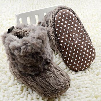 Winter Warm First Walkers Baby Ankle Snow Boots, Crochet Knit Fleece Baby Shoes