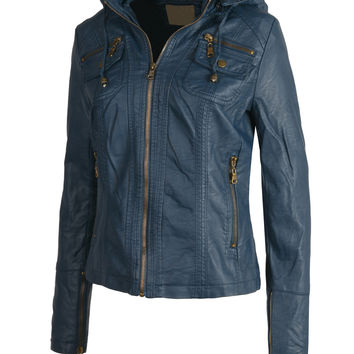 LE3NO Womens Faux Leather Zip Up Biker Jacket with Hood (CLEARANCE)