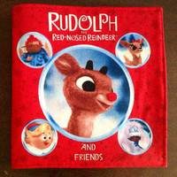 SALE-Rudolph the Red Nosed Reindeer Cotton Children's Fabric Holiday Book with Bright and Colorful Pictures-New and Ready to Ship