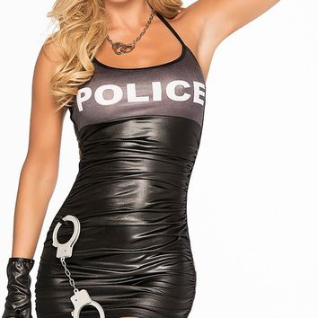 Halloween Party Sexy Cool Girl Black Police Costume Adult Women Check Pattern Cop Officer Costume Cosplay Cap Glove