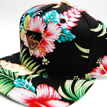 Hater Snapback Cap Hat Hawaiian Flower Aloha Skin Black Exclusive Hand Made