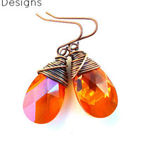 Swarovski crystal, Astral Pink, copper wire wrapped earrings. Small  earrings.