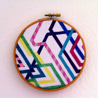 Abstract Wall Art - Fabric - 5 inch embroidery hoop - Hipster Railroad - Abstract Original Art on Fabric - Original Textile - Wall Hanging