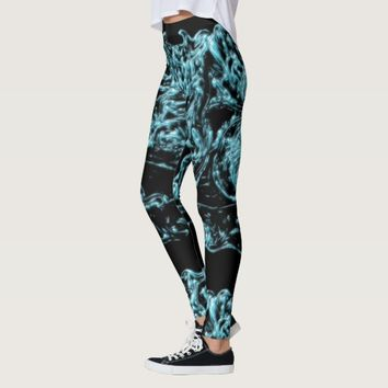 Ice Forms Blue Black Abstract Leggings