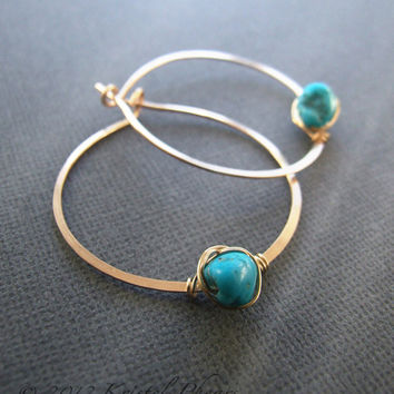 "Turquoise earrings - genuine turquoise hoop earrings gold silver 1.25""-1.5"" 36mm Nevada Blue December birthstone Mother's Day gift"