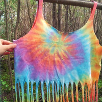 REDUCED PRICE upcycled tie dye crop top ~