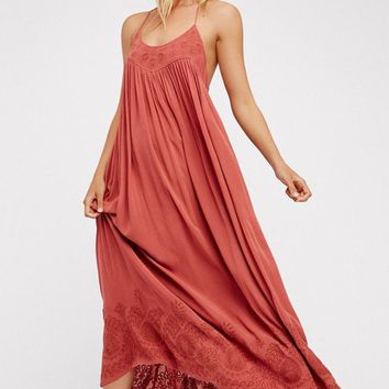 Embroidered Elaine Maxi Slip Dress | Terracotta | Free People – The Freedom State