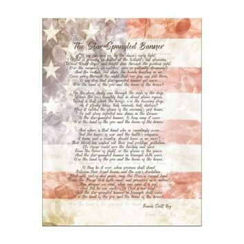 ONETOW 4th of July American National Anthem Flag and Lyrics Rectangular Decal Sticker