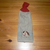 Embroidered Horse Head Hanging Dish Towel With Hand Knit Button Topper