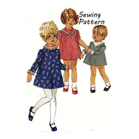 "Simplicity 7882 Toddler Girl's A-Line High-Rounded Neckline Dress Sewing Pattern Size 1 or 4 Breast 20"" or 23"" / 51cm or 58cm Vintage 1960s"